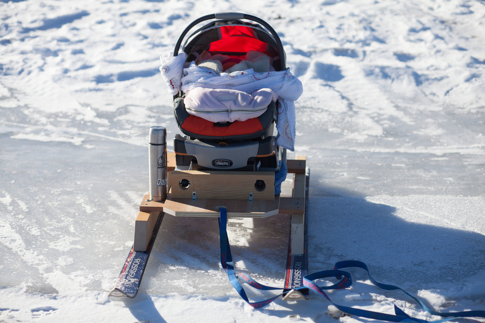 Homemade Baby Snow Sled