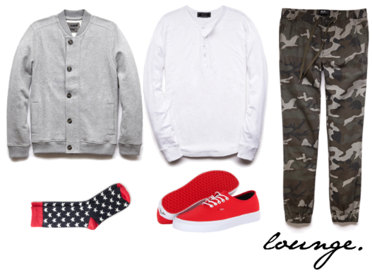 bomber jacket, henley, joggers and socks- 21Men shoes- Vans