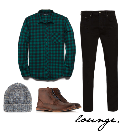flannel- 21Men beanie, jeans, brogues- TopMan