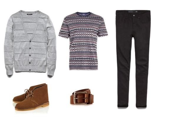 t-shirt & belt-  TopMan   cardigan & jeans -  21Men   desert boots-  Clarks