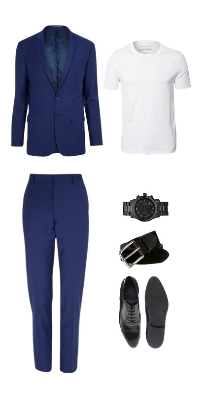 Suit, T-shirt & Belt-  River Island // Shoes-   ASOS // Watch- Michael Kors