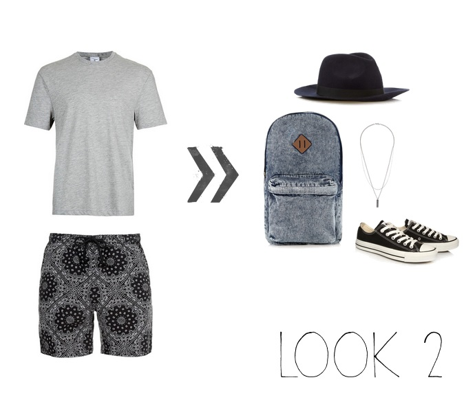 Top, Shorts, Hat, Necklace & Backpack - Topman Shoes- Converse