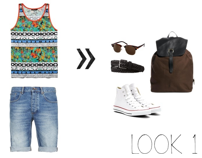 Tank & Belt- 21Men Shorts- Topman Shoes- Converse Glasses & Rucksack - ASOS