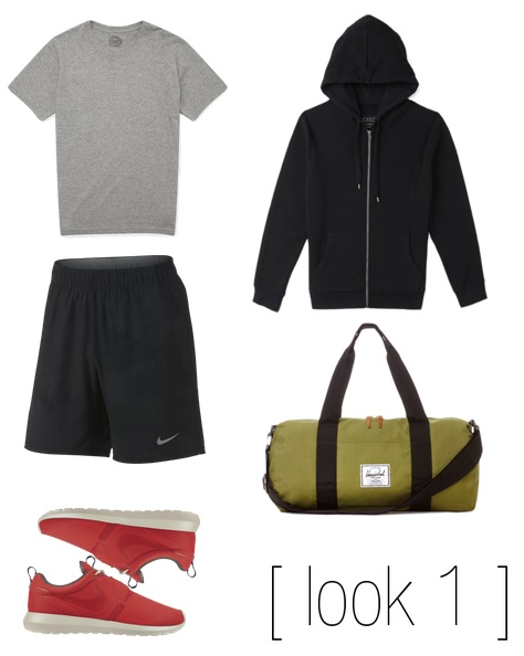 Shirt & Hoodie-  21Men   Shorts & Shoes -  NIKE   Duffle Bag-  Herschel