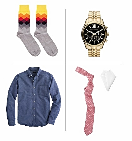 Socks- Happy Socks / Watch- Michael Kors / Oxford- JCrew / Tie & Pocket square- Ulterior Motive