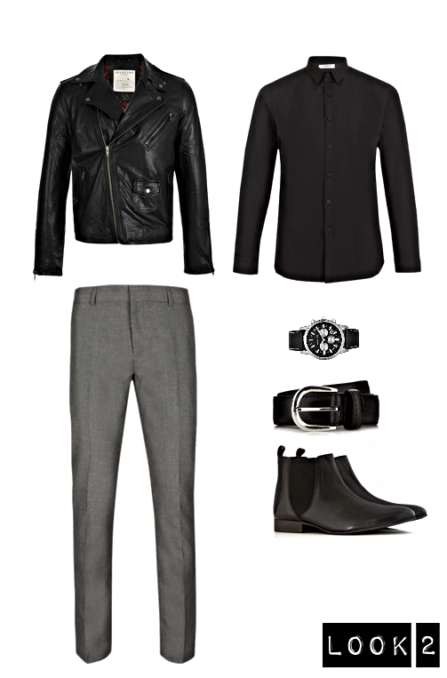 Leather Jacket, Shirt, Trousers, Chelsea Boots, Belt- Topman Watch- Michael Kors