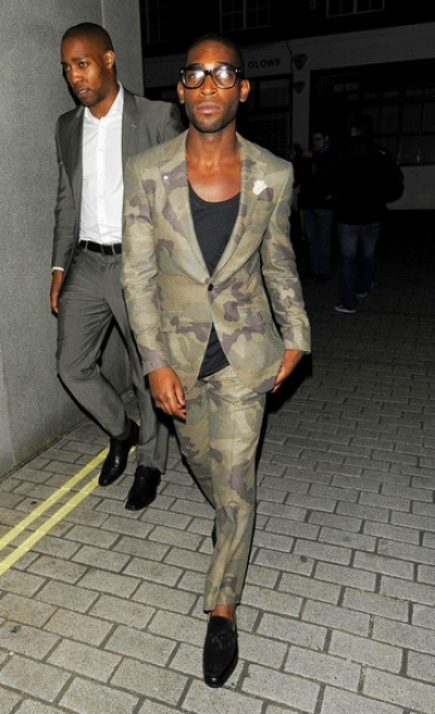 Tinie Tempah in a camo Richard James suit