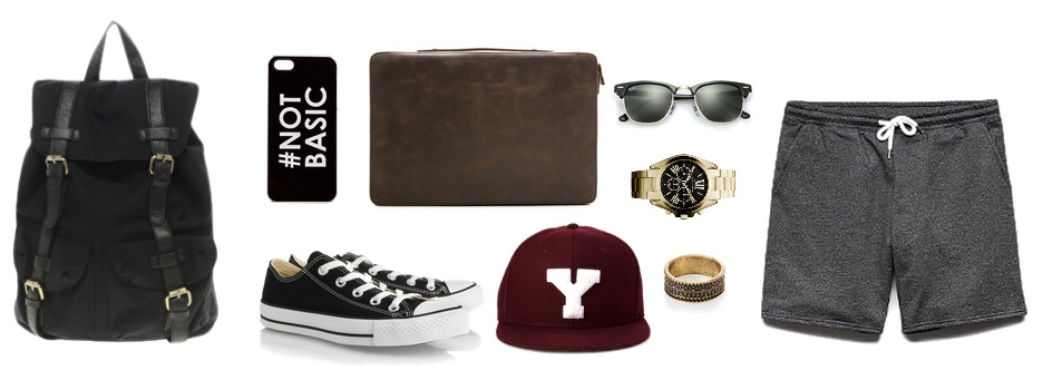Backpack - ASOS       Phone Case - REVOLT Clothing      Shoes - Converse      Laptop Sleeve- ( similar )   Hat, Shorts, Ring - 21MEN     Watch - Michael Kors      Sunglasses - Ray-Ban
