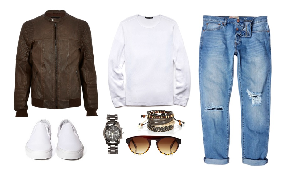 Jacket, Jeans, Bracelets and Watch -River Island Shirt & Sunglasses -21 Men Shoes- Vans
