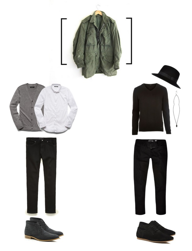 Outfit #1 - Top, Cardigan, Jeans - 21Men   Boots - River Island Outfit # 2 All items from River Island Parka -Etsy