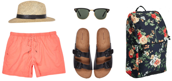 Hat, Shorts,  and Sandals - River Island Sunglasses - Ray-Bans Backpack - Focused Space