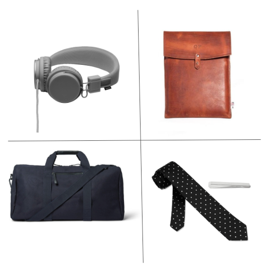1. Urbanears Headphones , $60.00 2. Qp Collections 13 Laptop Case, $98.00 3, COS Cotton-Canvas Holdall, $175.00 4. TIes.com Black Polka Dot Tie, $24.00