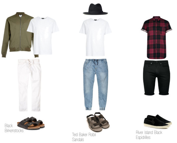 Outfit 1 - River Island Outfit 2 - Top & Joggers - River Island // Hat - Bailey Hats Outfit 3 - Topman