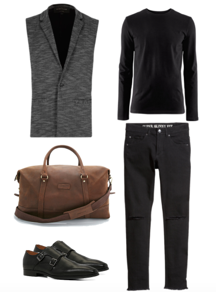 Sleeveless Blazer - River Island Shirt, Jeans and Holdall - H&M Shoes Aldo