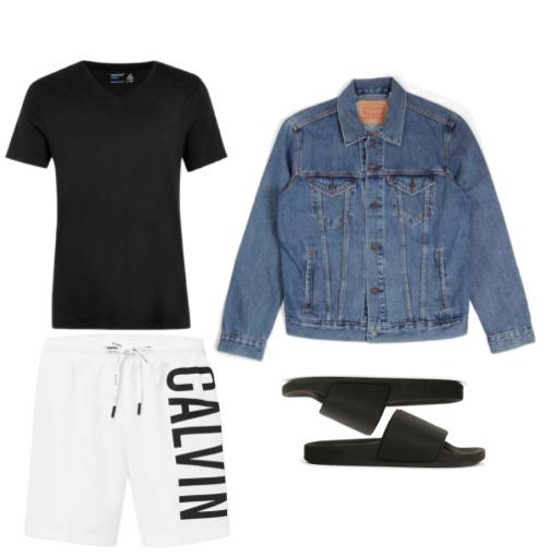 Jacket - Levi Shorts - Calvin Klein Slides - Topman