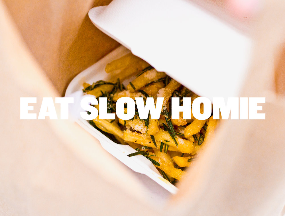 Photography and logo for Eat Slow Homie