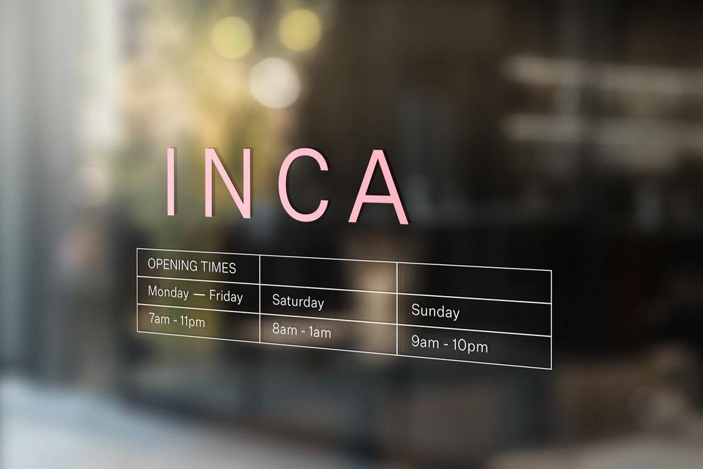 INCA window decal
