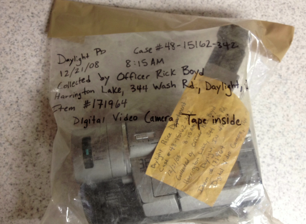 ITEM # 171964 Camera retrieved from Location 2 (Harrington Lake). Contained second of two tapes.