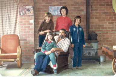 Our family in the basement at Kinglake, 1981