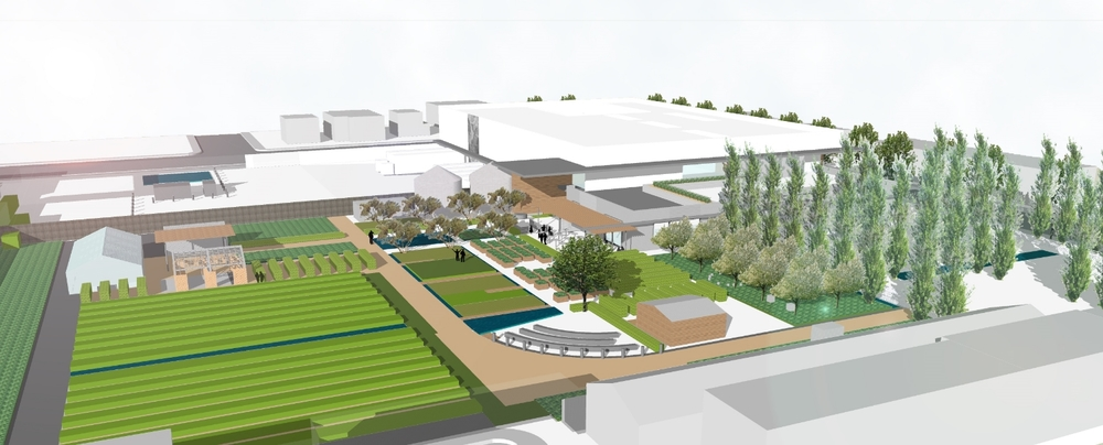 OUSD 'The Center' aerial view of working model