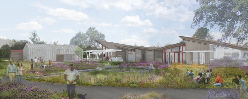 Rendering of schematic designs for Urban Tilth's proposed new farm. Site design by Bay Tree Design, Inc. Rendering by Byrens Kim Design Works.
