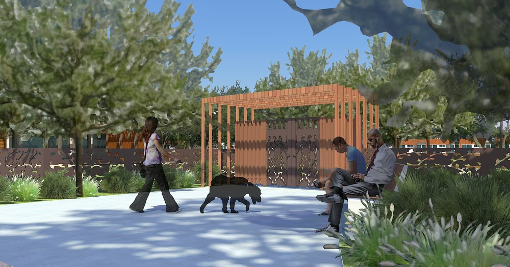 Perspective of Community Garden from Evans Lane by BAY TREE DESIGN