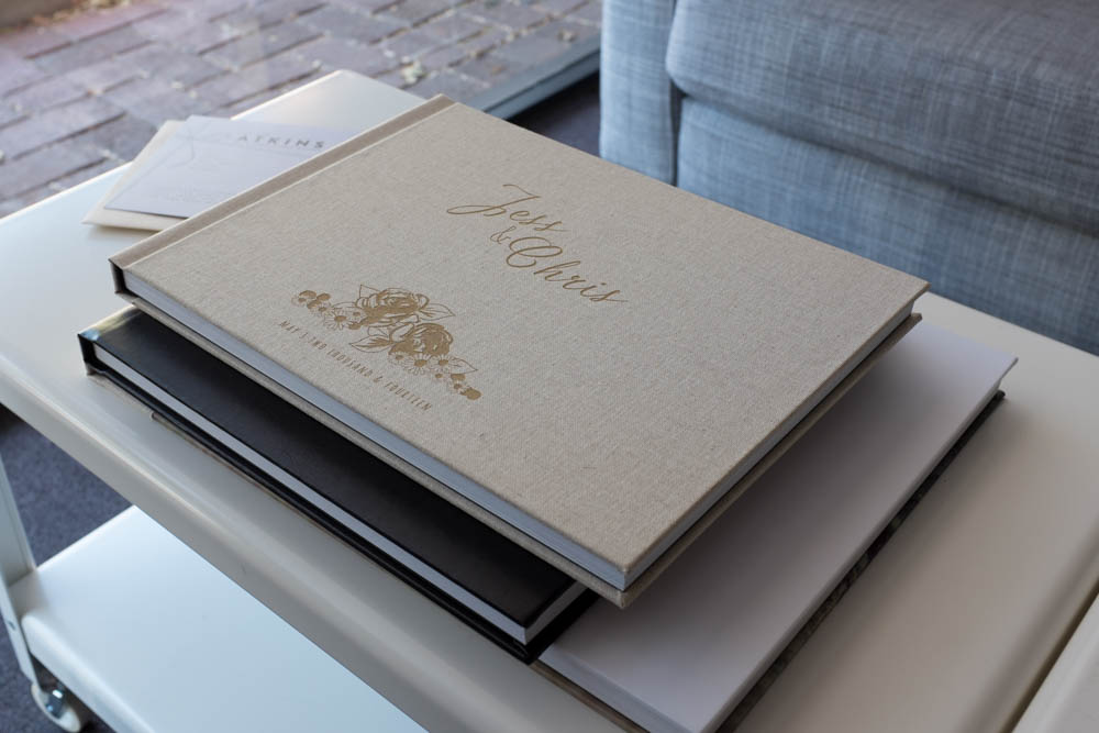 "Our ""Pride and Prejudice"" album in linen, engraved."