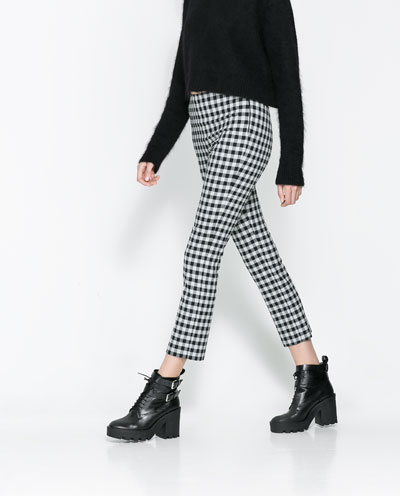 Checkered trousers courtesy of Zara.