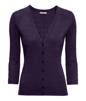 Deep purple fine knit cardigan. H&M.