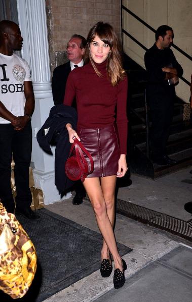 Alexa Chung. Versus sweater and skirt. andpop.com