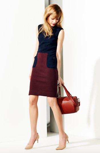 Tory Burch Brianna colorblock sheath dress. Navy/plum. $345. Nordstrom.