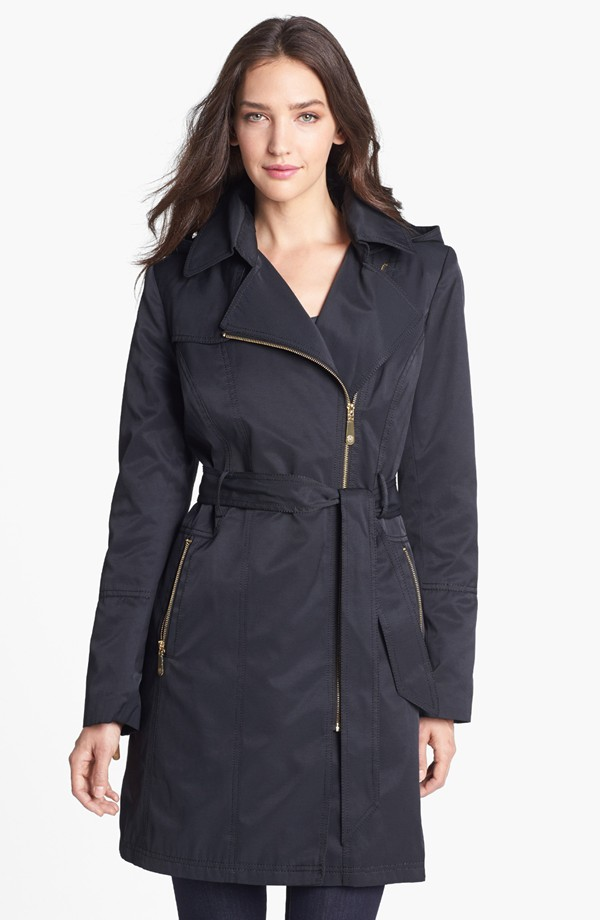 Vince Camuto Asymmetrical zip trench coat with detachable hood. $169.90. Nordstrom.