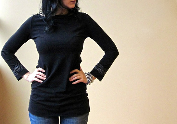 Bracelet top long sleeve bamboo jersey tunic. $75. Outofline.