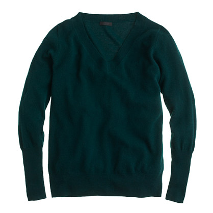 Collection cashmere V-neck sweater. $188. J Crew. Also available in black, navy, heather grey, dark green.