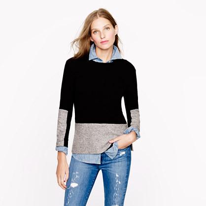 Wool panel sweater in black. $118. J Crew.