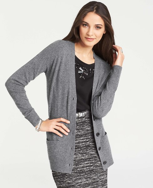 Collectible cashmere v-neck cardigan. Available in regular or petite. Also, grey, black, wine or tan. $218. Ann Taylor.