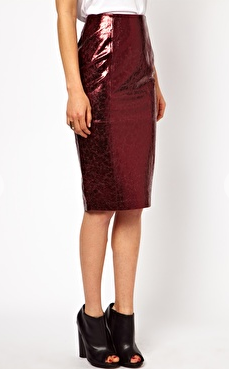 ASOS Petite exclusive pencil skirt in metallic leather. $160.18. ASOS.