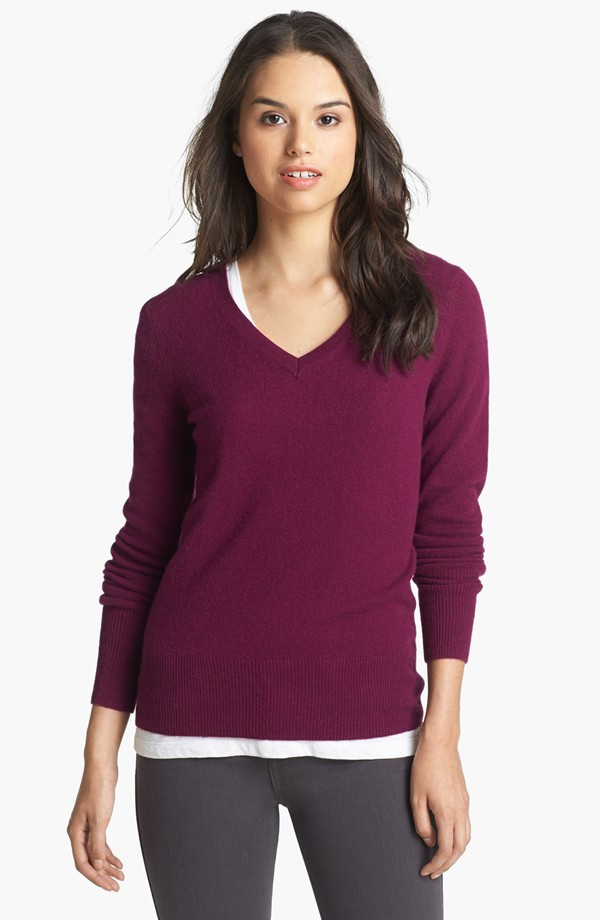 Halogen V Neck cashmere sweater. Nordstrom. Available in several colors. $79.