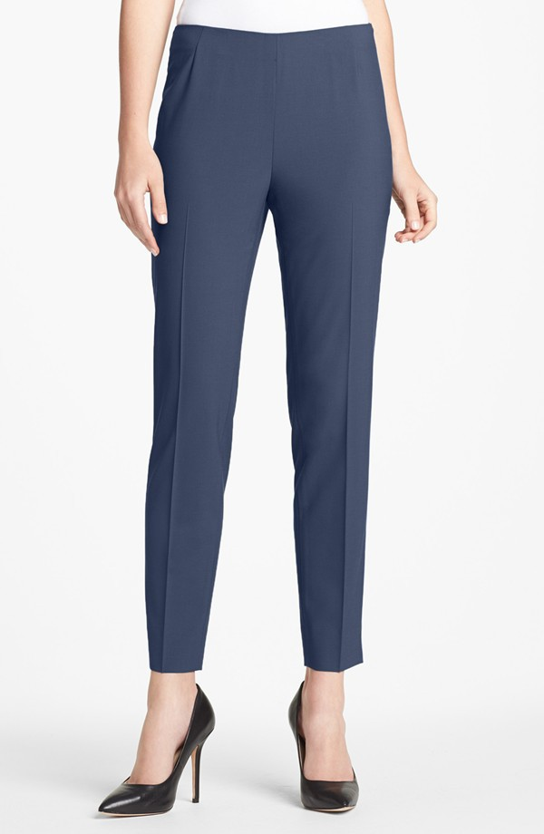 "Lafayette 148 New York Side zip stretch wool pants. The top is ""armada"" blue. There are no pants in armada. Navy is likely the best bet. Nordstrom. was $218 now $174.40."