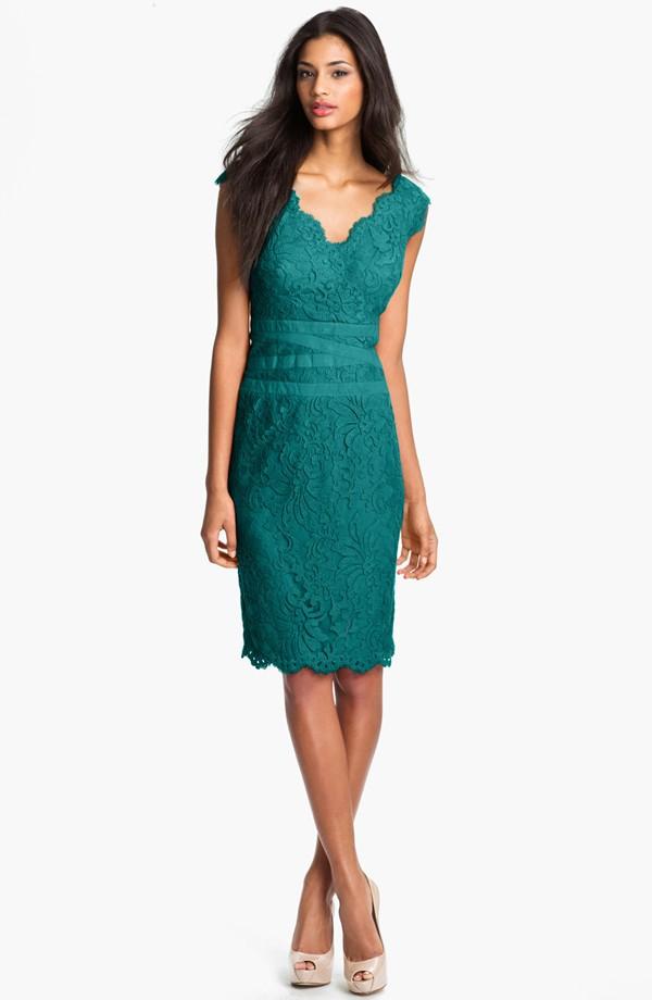 Tadashi Shoji Lace tulle sheath dress. Aqua blue. Nordstrom. $298