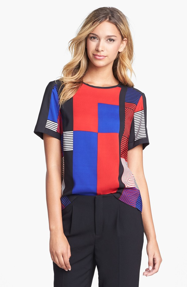 Vince Camuto Patchwork colorblock silk top. Nordstrom. Was: $89 Now: $53.40