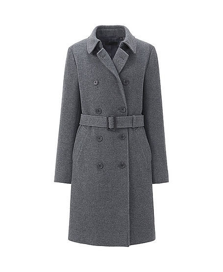 Wool blended trench coat. Available in black, grey and camel.Uniqlo. $99.90.