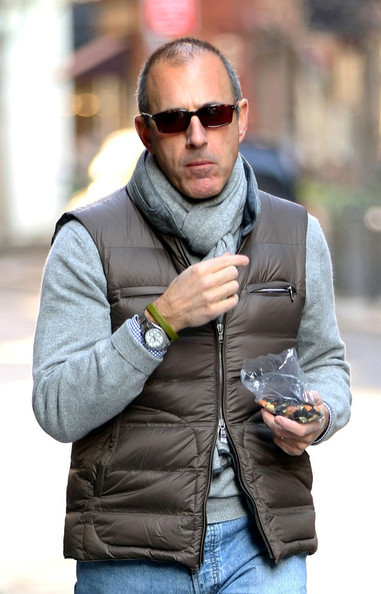 Matt Lauer- layering and eating. A multi-tasking hip urban man over 50.