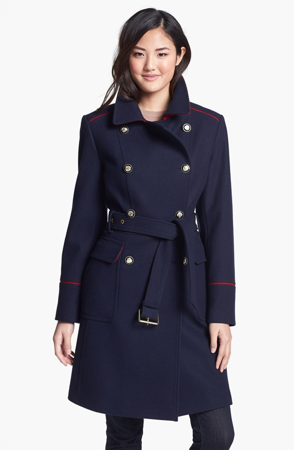 Vince Camuto Contrast piping belted military coat. Was: $248. Now: $166.16.
