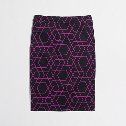 Factory printed pencil skirt in stretch cotton. J Crew. Was: $85 Now: $34.50.
