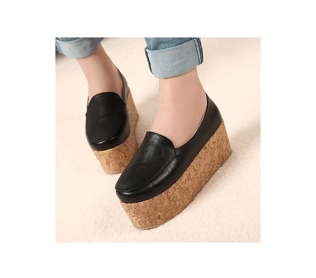 Classic Faux leather loafer flatform cork wedge shoe. Jacco.com. $46.99
