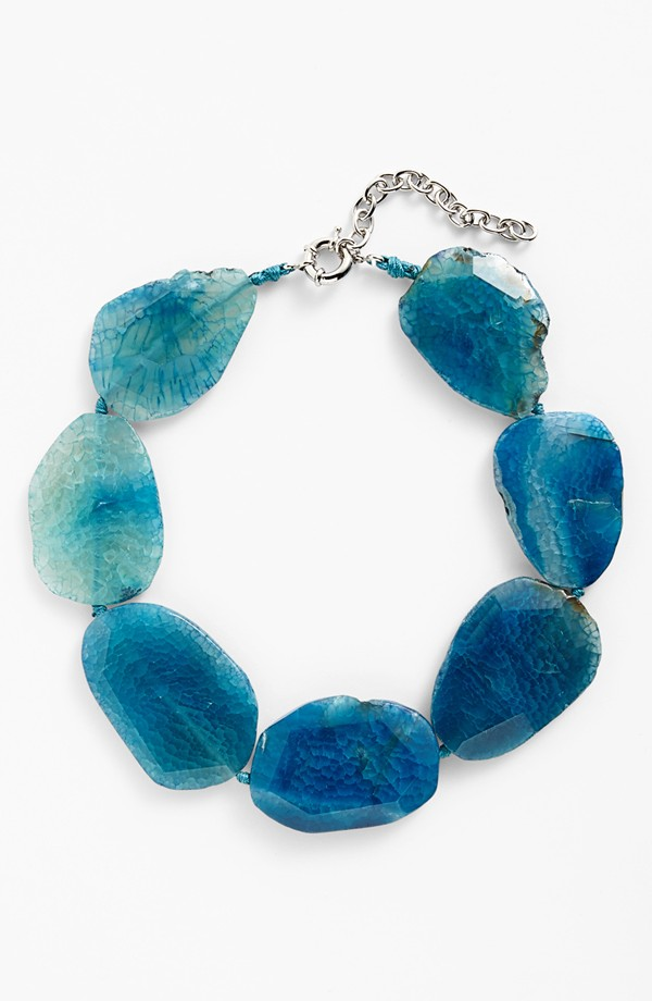 Agate necklace. Also available in black or pink. I have this one:) Nordstrom. $78.