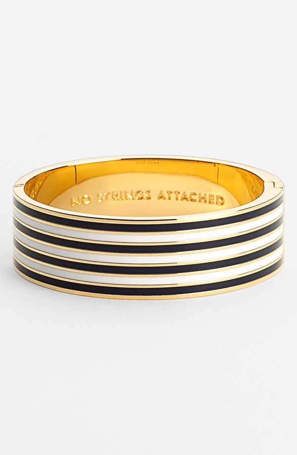 Kate Spade No strings attached hinged bangle. Navy/cream also available in red/cream. Nordstrom. $98.