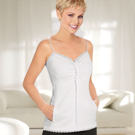 Pretty lace trim post op cami. Tender Loving Care. The American Cancer Society. Available in white or black. Was: $55 Now: $44.99.