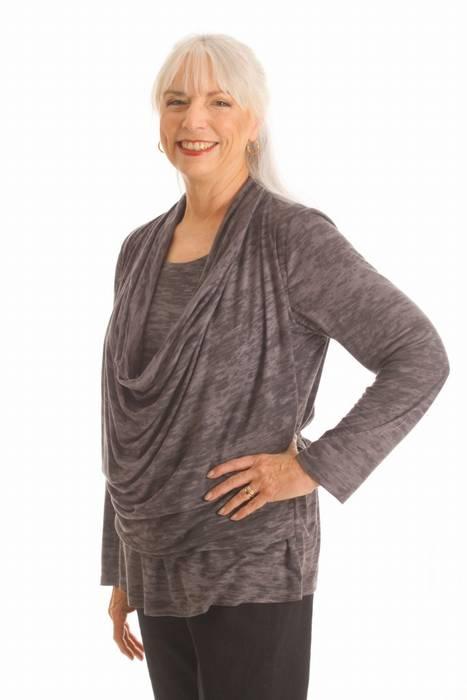 Elegant Cowl shirt grey. Post Mastectomy Clothes. $125.